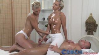 Czech Two horny young blondes enjoy big cock in oily threesome